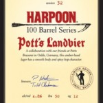 The Harpoon Brewery Announces the 32nd 100 Barrel Series Beer, Pott's Landbier