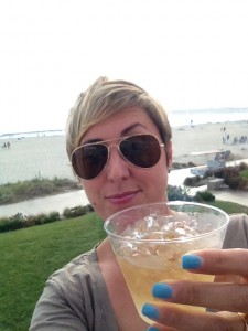 Enjoying drink on the patio at the beautiful Coronado Hotel